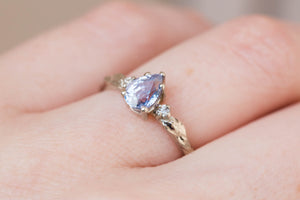 Pear lavender sapphire engagement ring, leaf engagement ring, pear leaf ring, nature engagement ring, 14k gold ring, three stone ring, oore