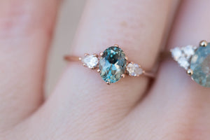Oval teal Montana sapphire engagement ring, three stone ring, montana sapphire ring, teal sapphire ring, blue green sapphire, princess ring