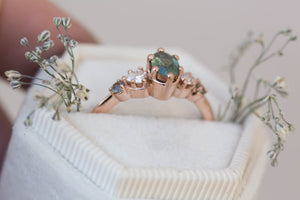 Oval Montana sapphire engagement ring, cluster ring, five stone ring, teal sapphire ring, oval sapphire ring, blue green sapphire ring