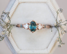 Load image into Gallery viewer, Oval Montana sapphire engagement ring, cluster ring, five stone ring, teal sapphire ring, oval sapphire ring, blue green sapphire ring