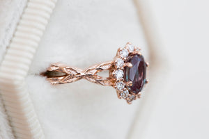 Oval alexandrite halo twisted leaf ring, made to order in 2-3 weeks