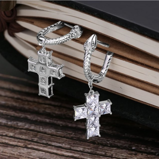 Iced Out Cross Earring - Foreign Jewels