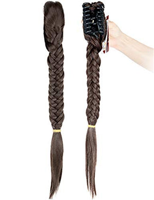 "FUT 21"" Long Fishtail Braid Ponytail Hair Extension Synthetic Claw Jaw Braiding Ponytail Hairpiece"