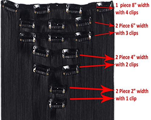 7Pcs 16 Clips Thick Curly Straight Clip in Double Weft Hair Extensions