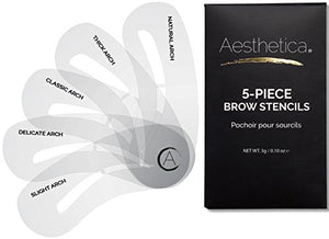 Aesthetica 5-Piece Brow Stencils - Easy to Use, Reusable Eyebrow Shaping & Defining Stencils - Instructions Included