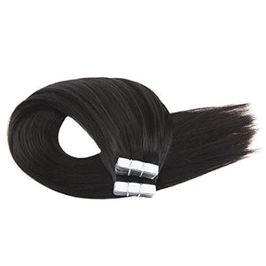 Moresoo 20 Inch Tape in Hair Straight Unprocessed Remy Human Hair Off Black Color 1B Seamless Skin Weft Invisible Glue in Hair Extensions 50g/20pcs