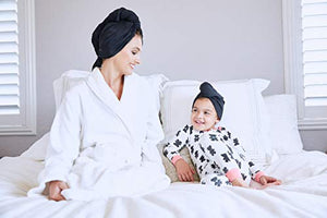 Ultra-Fine Microfiber Hair Towel Wrap - The Perfect Haircare - Anti-frizz Fast Drying Turban with Wet/Dry Brush