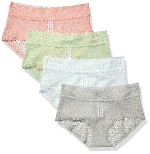 Amazon Essentials Women's 4-Pack Lace Stretch Hipster Panty, Cool, M