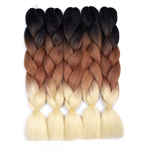 Ombre Braiding Hair Kanekalon Synthetic Braiding Hair Extensions (Black-Brown-Blonde) 5pcs/lot 24inch Jumbo Braiding Hair