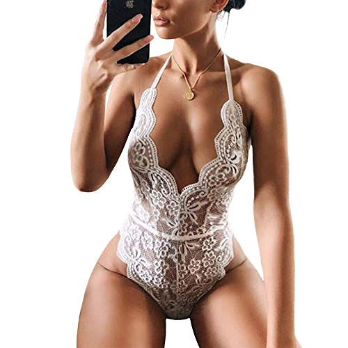 Lace Bodysuit for Women Sexy Eyelash Teddy Lingerie Naughty Negligee Black Bodysuit, White, Medium