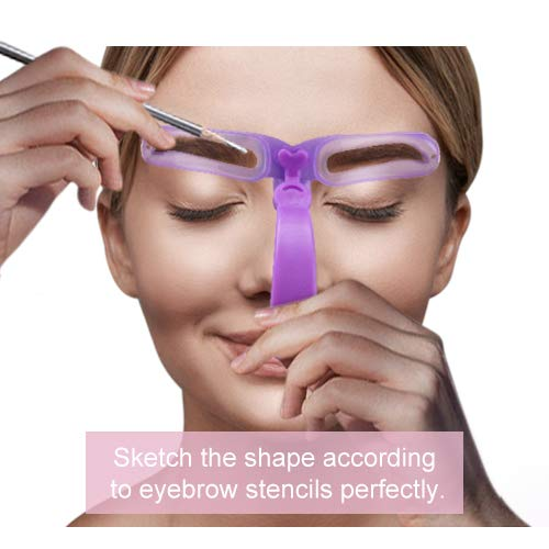 Eyebrow Stencils, Eyebrow Template, Eyebrow Shaping Kit,8 Styles Reusable Eyebrow Stencil with Handle and Strap, Washable