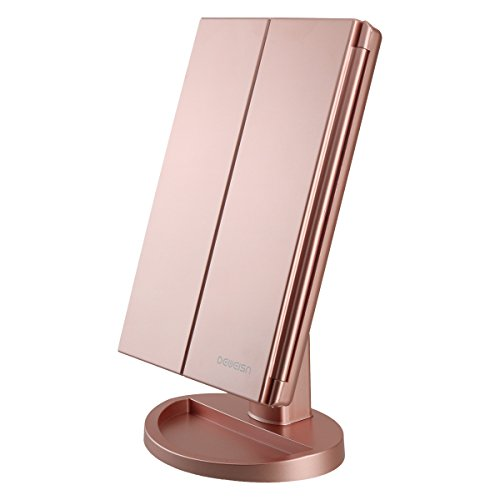 Tri-Fold Lighted Vanity Makeup Mirror with 21 LED Lights,3X/2X Magnification Mirror,Touch Sensor Switch, Two power Supply Mode Tabletop Makeup Mirror,Travel Cosmetic Mirror