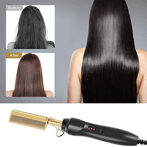【Mode Works】Hot Comb Hair Straightener - Electric Straightening Comb for African American Hair and Wigs - Technology Hair Straightener for Wet and Dry Hair - Quick Heated Comb for Men Long Beard