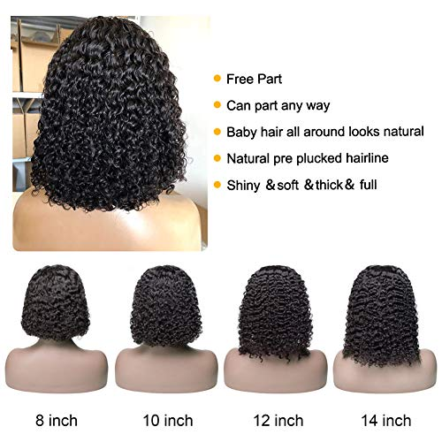 Ossilee Lace Front Human Hair Wigs 13x4 Short Bob Wig Water Wave Lace Front Wigs Human Hair Pre Plucked 150% Density Bob Wigs Human Hair for Black Women (10inch)