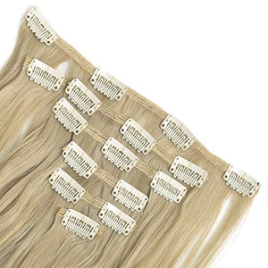 Felendy Clip in Hair Extensions 7Pcs 16 Clips 23 24 inch Curly Straight Thick Double Weft Hairpieces for Women