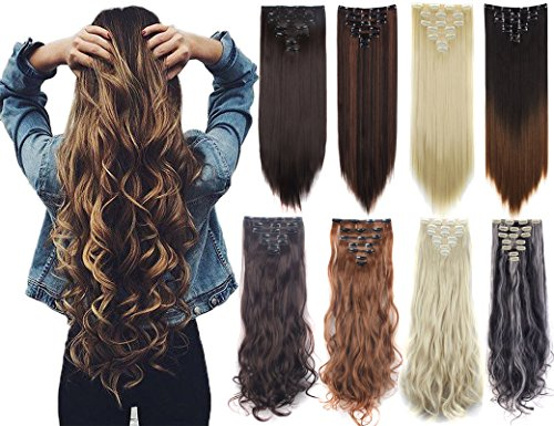7Pcs 16 Clips 23-24 Inch Thick Curly, Medium Brown-straight, Size 23 Inch-160g