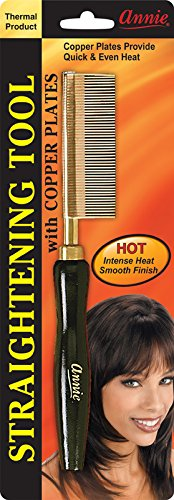 Annie Straightening Comb, Fine Teeth with Copper