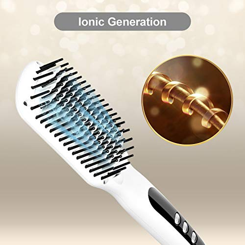 Ionic Hair Straightener Brush Electrical Heated Straightening Comb for Thin, Thick, Curly Hair, LCD Tem Display,Professional Hair Care Brushes Set for Travel & Salon…