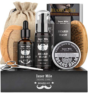 Isner Mile Beard Kit for Men, Grooming & Trimming Tool Complete Set with Shampoo Wash, Beard Care Growth Oil, Balm, Brush, Comb, Scissors & Storage Bag, Perfect Gifts for Him Man Dad Father Boyfriend