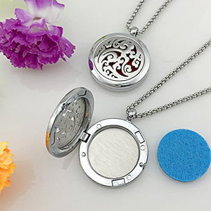 YOUFENG Essential Oil Necklace Diffuser Family Tree of Life Necklace Pendant Aromatherapy Locket 49 Refill Pads (Cloud Diffuser Locket)