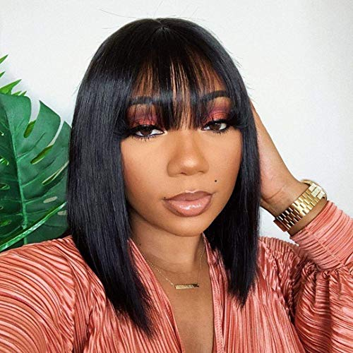 Short bob Wigs with Bangs Brazilian Straight Human Hair Wigs None Lace Front Wigs Human Hair Machine Made Bob Wigs for Black Women 130% Density (16 inch, Natural black)