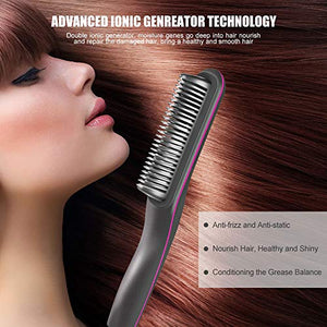Hair Straightener Brush, MKBOO Electric Hair Straightener Brush Hot Comb with LED Display, 30s Fast Ceramic Heating, Anti-scalding Comb Teeth, 360 Swivel Cord Portable for Home, Travel and Salon