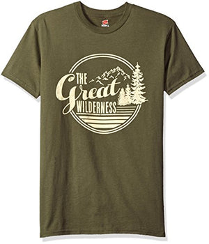 Hanes Men's Graphic Tee-Rugged Outdoor Collection, the Great Wilderness Fatigue Green, Medium