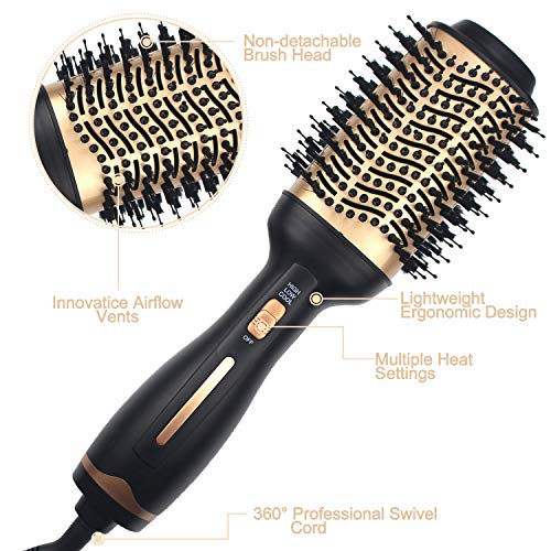Hot Air Brush,Hair Dryer Brush, Professional Hair Dryer & Volumizer 3 in 1 Upgrade Anti-scald Negative Ionic Technology Hair Straightener Brush,Salon Negative Ion Ceramic Electric Blow Dryer