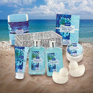 Home Spa Gift Basket in Heavenly Ocean Bliss Scent - 9 Piece Bath & Body Set With Shower Gel, Bubble Bath, Salts, Lotions & more! Great Wedding, Mothers Day, Birthday & Graduation Gift for Women & Men