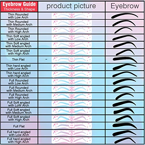 Eyebrow Stencils, Reusable Eyebrow Template, Eyebrow Shape Kit with Strap, 21 Fashionable Styles Extremely Elaborate Eyebrow Template, 9 Thick & 12 Thin Types Eyebrows Template for A Variety of Face