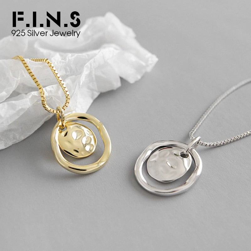 F.I.N.S S925 Sterling Silver Gold Color Geometric Necklaces Pendants for Women Irregular Uneven Necklace Minimalist Jewelry