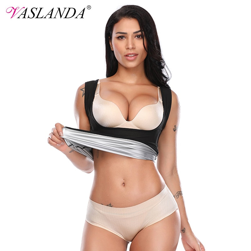 VASLANDA Sauna Sweat Vest Women Body Shaper Seamless Workout Tank Tops Sleeveless Shirt Waist Trainer Slimming Shapewear