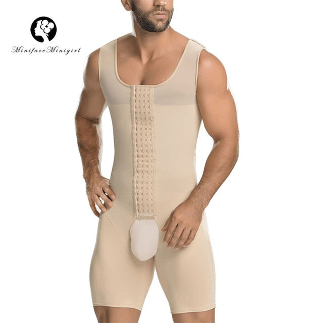 Minifaceminigirl Men's Black Nude Plus Size Shapewear Post Surgical Slimming Firm Compression Bodysuit Shaper