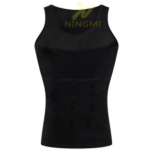 NINGMI Compression Shirt Underwear Mens Slimming Body Shaper Gynecomastia Vest Tank Top Tight Slim Waist Trainer Tummy Shapewear