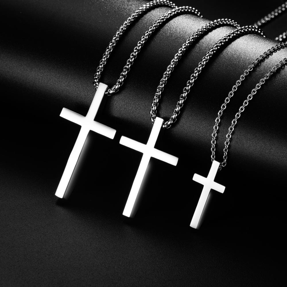 Stainless Steel Cross Pendant Necklace for Men Women Minimalist Jewelry Male Female Prayer Necklaces Chokers Silver Color