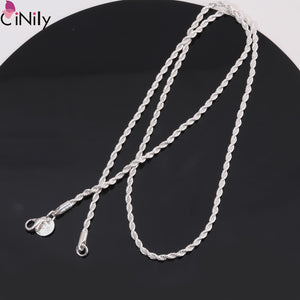 CiNily Minimalist Chain Necklace Silver Plated 5 Sizes Long Short Twisted Necklace Classic Fashion Jewelry Gifts for Man Woman