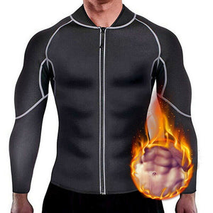 Men Sweat Sauna Suit Weight Loss Neoprene Workout Shirt Body Shaper Gym Compression Top Shapewear Fitness Long Sleeve Shapewear