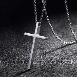 Titanium Steel Cross Pendant Necklace for Men Women Minimalist Jewelry Male Female Prayer Necklaces Chokers Silver Color Gift