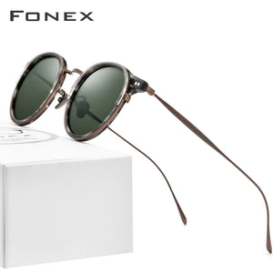 FONEX Acetate Titanium Sunglasses Men Vintage Retro Round Polarized Sun Glasses for Women 2020 New High Quality UV400 Shades 850