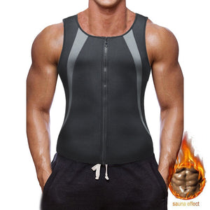 Sleeveless Body Shapers Men Zipper Vest Neoprene Compression T Shirt Waist Trainer Tummy Control Men's Shapewear Slimming Shaper