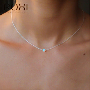 ROXI White Fire Opal Choker Necklace Gold Link Chain Necklace Small Round Pendant Necklace for Women Fashion Minimalist Jewelry