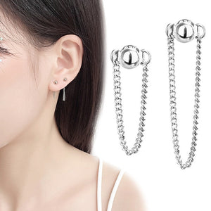 Silver Color Round Bead Ear Line Chain Stud Earrings 925 Rear Suspension Personality Earrings For Women Minimalist Jewelry Gift