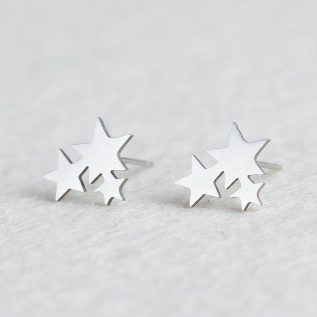Stainless Steel Animal Heart Leaf Cat Flower Star Stud Earrings for Women Girls Minimalist Jewelry Accessories Gifts