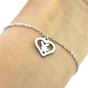 1pc Little Bunny Stainless Steel Custom Necklace Rabbit Heart Pendants Necklaces Women Kids Fashion Minimalist Jewelry