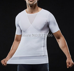 Men Slimming Vest Tops Posture Corrector T Shirt Tight Chest Shaper Male Waist Belt Reduce Belly Stomach Shapewear
