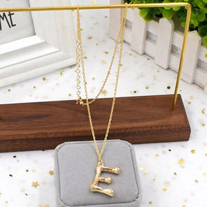 Gold Hammered Metal Bamboo 26 Letter Alphabet A-Z Minimalist Initial Statement Pendant Necklace Fashion Twist Long Chain Jewelry