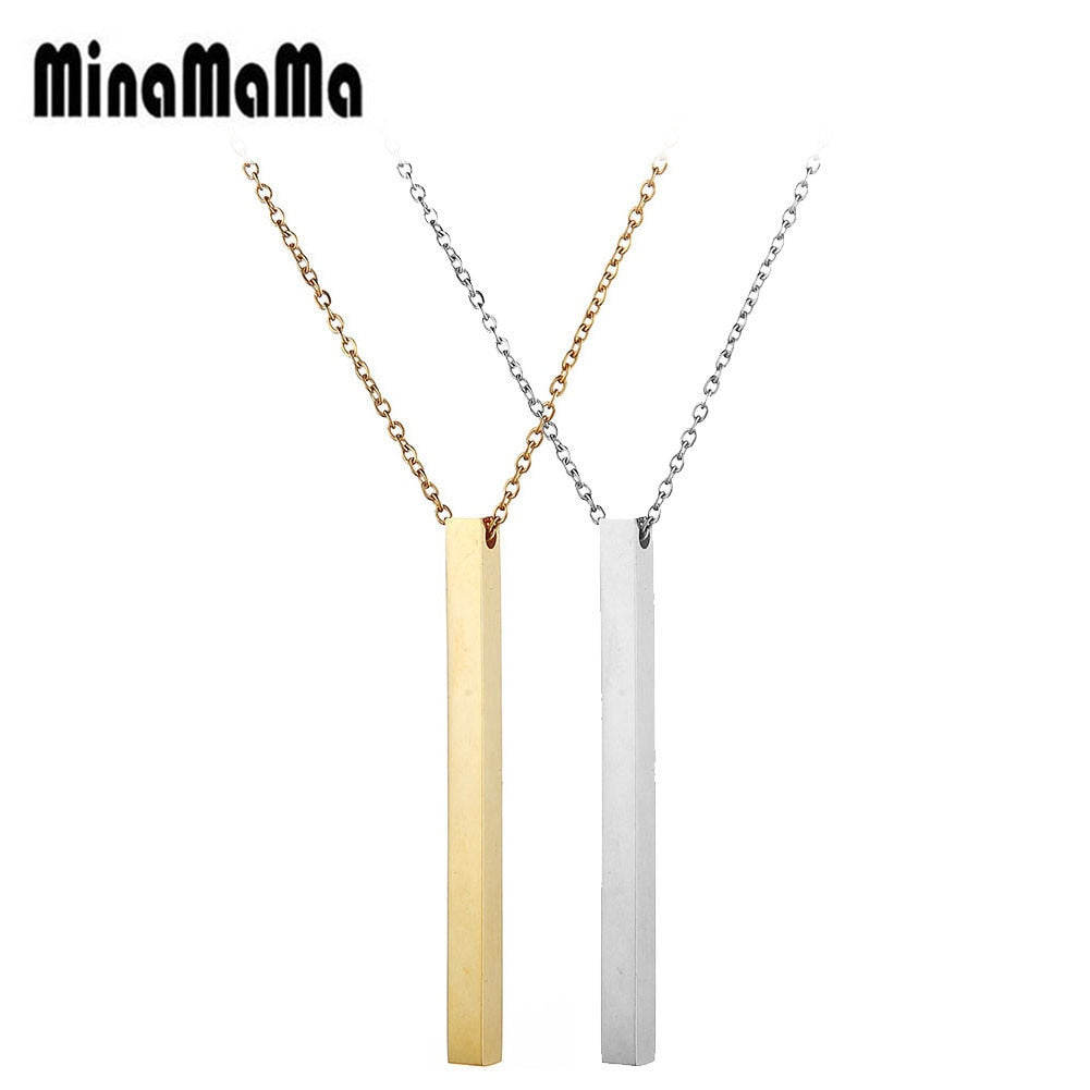 Fashion Long Pendants Necklaces Minimalist Jewelry Rose Gold Color Stainless Steel Square Bar Necklace For Woman Men