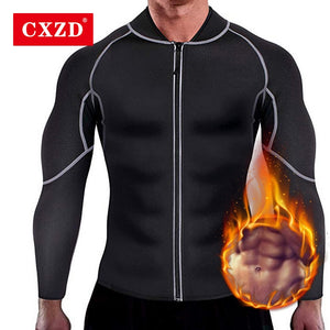 CXZD Men Sweat Neoprene Weight Loss Sauna Suit Workout Shirt Body Shaper Fitness Jacket Gym Top Clothes Shapewear Long Sleeve