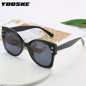 YOOSKE Fashion Vintage Cat Eye Sunglasses Women Retor Brand Deisgn Gradient Shades Sun Glasses Famale Big Frame Eyewear UV400