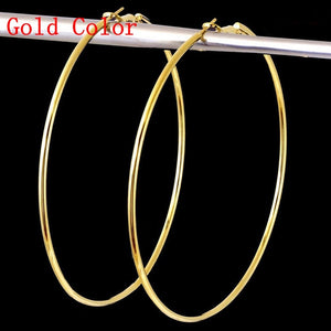 EKUSTYEE Brand 4 Size Big Hoop Earring for Women Jewelry Mother Gold Color Fashion Jewelry Bijoux Accessory Birthday Brincos